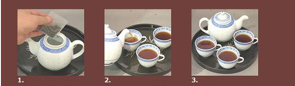 プーアル茶を急須で淹れる