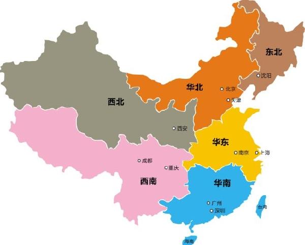 中国地図 地区別名称