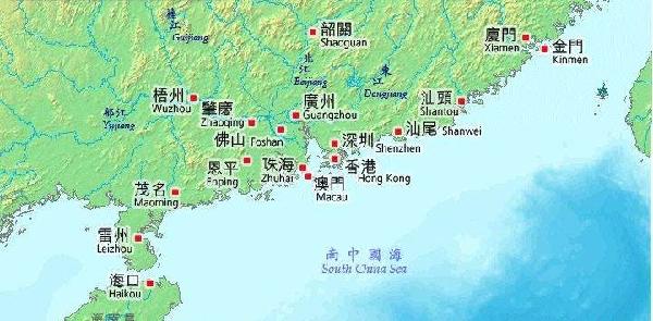 華南地区地図