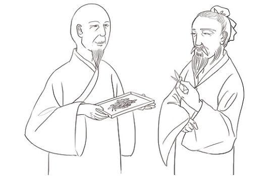 お茶を挟んで会話する中国の坊主