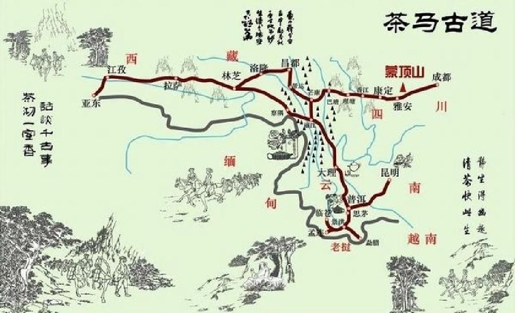 茶葉古道地図